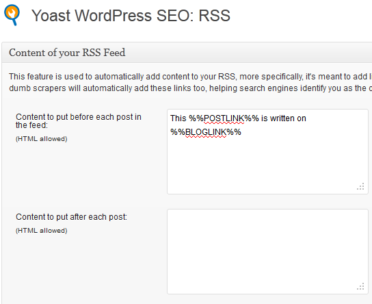 rss footer setting