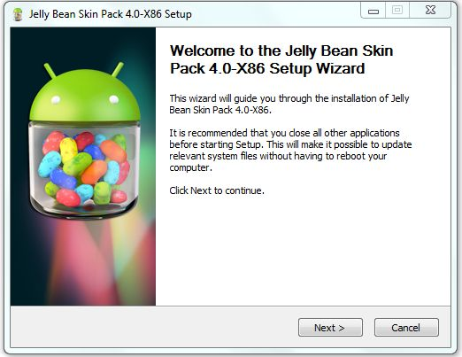 jelly bean skin pack setup
