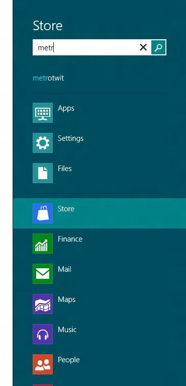 search app in windows 8 store