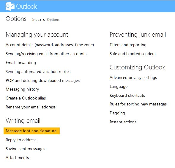 add signature in outlook.com