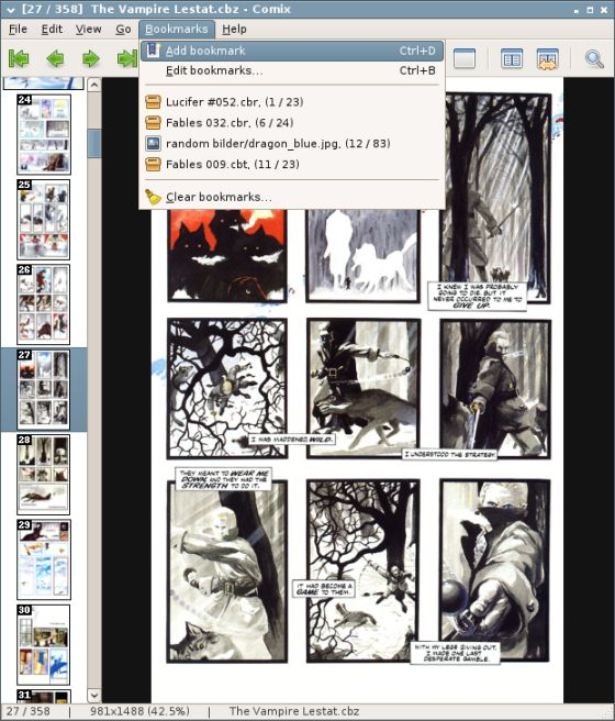 comic bookmark linux