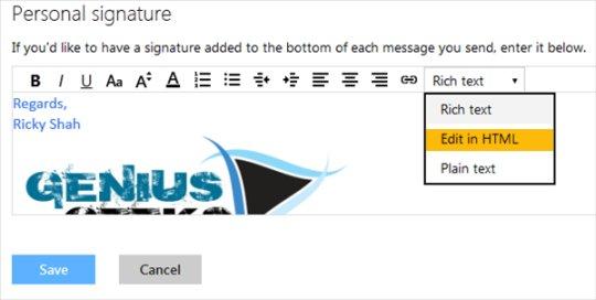 edit html signature