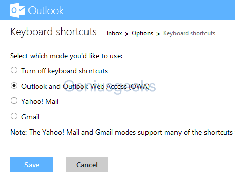 outlook keyboard shortcuts setting
