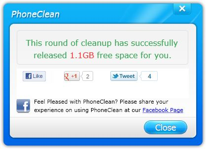 phoneclean free space info