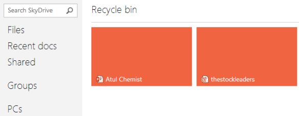 deleted files in recycle bin