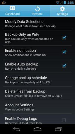 g cloud backup settings