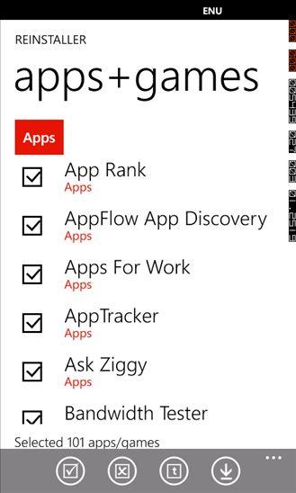 reinstall windows phone apps games