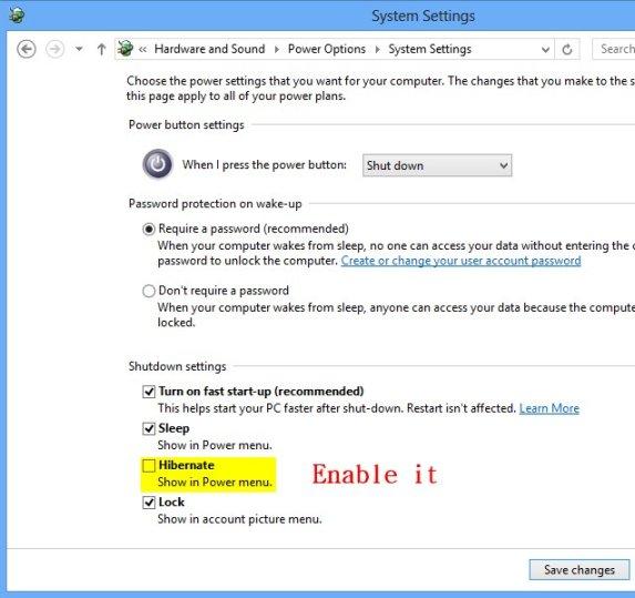 enable hibernate option