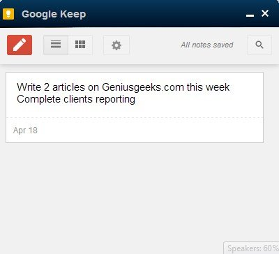 google keep on desktop
