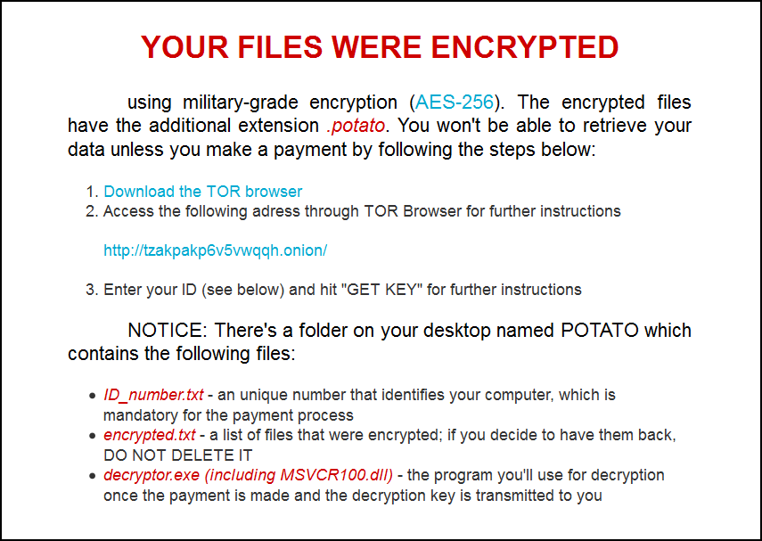 Potato Decrypt Infected files with ease