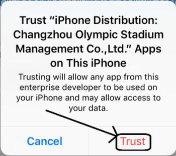 Trust AppValley VIP on iPhone iPad