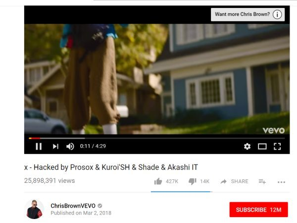 Chris Brown Vevo Channel Hacked