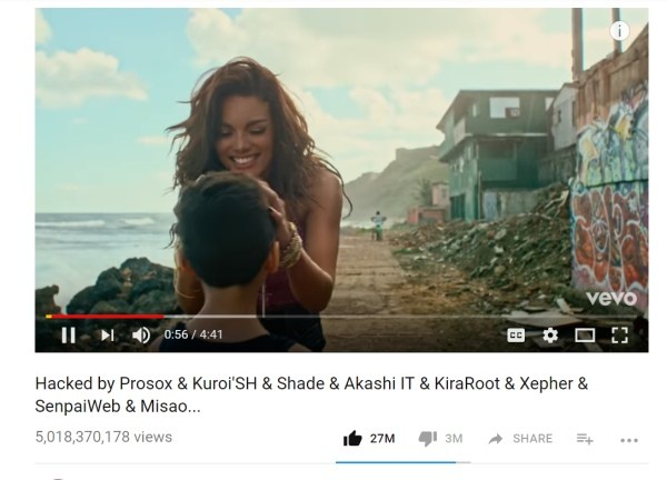 Various Vevo YouTube Channel Gets Hacked by Prosox & Kuroi'SH!