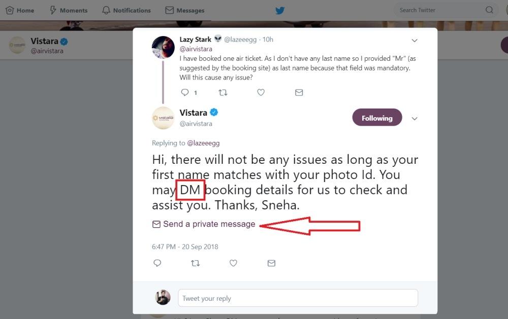 AirVistara on Twitter