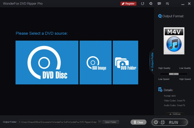 Simple User Interface of DVD Ripper Pro