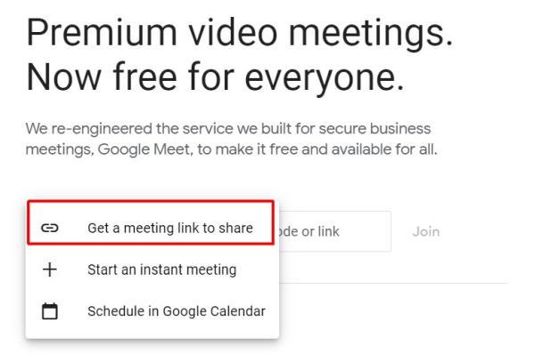 Create a Meeting in Google Meet