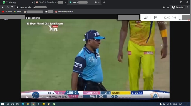 IPL via Google Meet Desktop Version from Hotstar