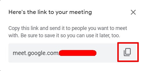 Share Google Meet Link
