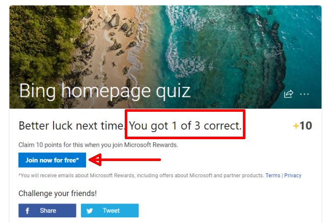 Here is How to Win Microsoft Rewards with Bing Quiz