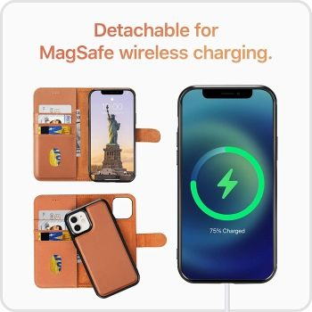 LONLI iPhone 12 Mini Wallet Case with MagSafe Wireless Charging Compatibility