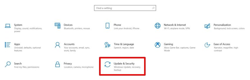 Head Over to Settings and Click on Update and Security Option in Windows 10