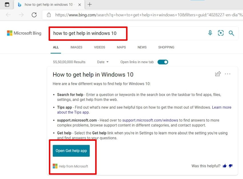 How to Get Help in Windows 10 with Bing Search Engine