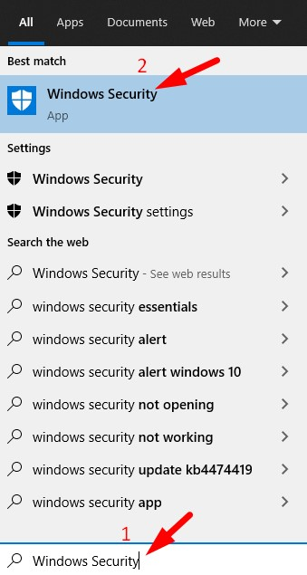 Open Windows Security from search bar