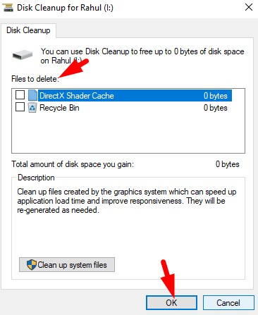 Select files to delete
