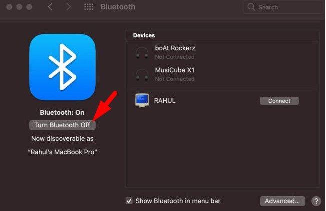 Turn Off Bluetooth on Mac using Bluetooth Settings