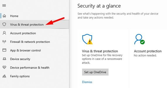 Click on Virus & threat protection