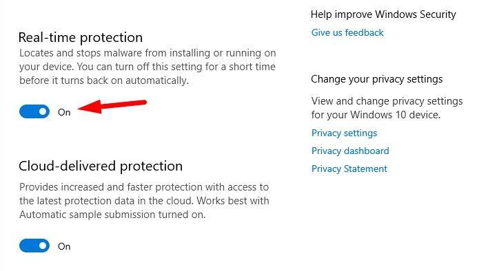 turn back Windows Defender Antivirus ON using toggle button