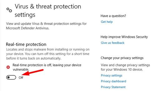 turn off Windows Defender using toggle button under real-time protection