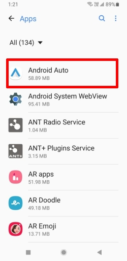 Tap on Android Auto from Apps List