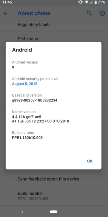Android About settings