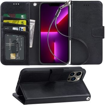 Arae Wallet iPhone 13 Pro Case with Flip Cover and Wrist Strap