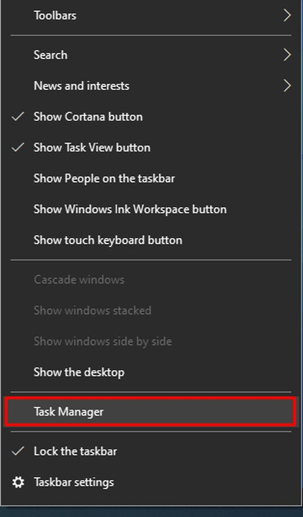 Click Right button on taskbar and Open Task Manager