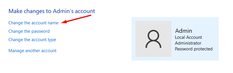 Click on the user account name