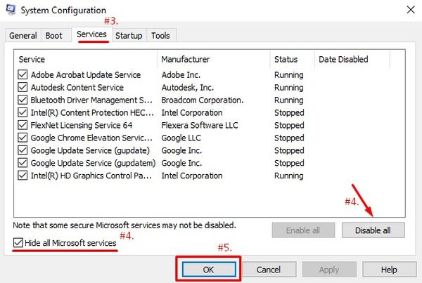 Hide all Microsoft Services and disable all