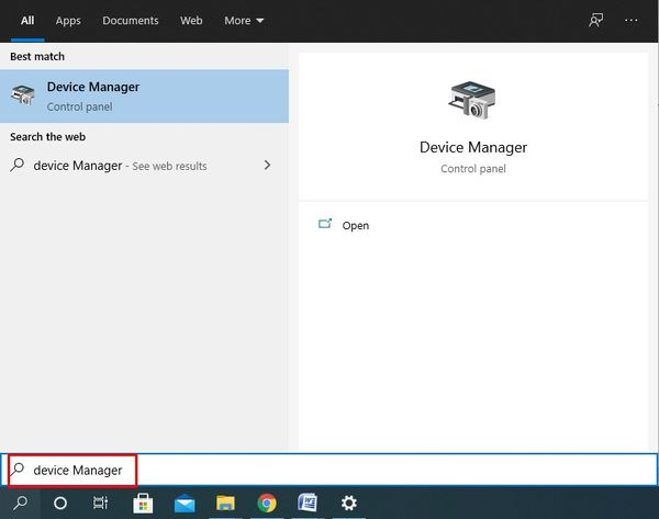 Open Device Manager from Search Menu
