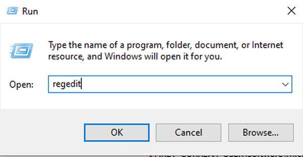 Open Windows Run Box and Search Regedit