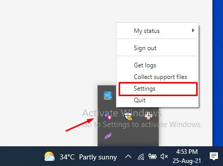 Open the Setting of MS Teams from System Tray