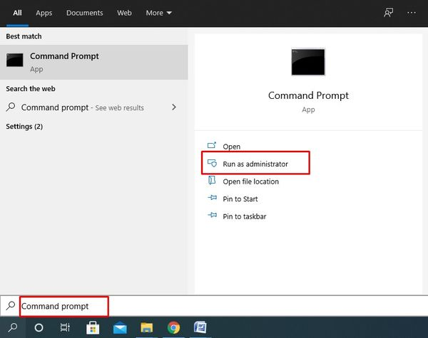 Search Command prompt and select Run as administrator