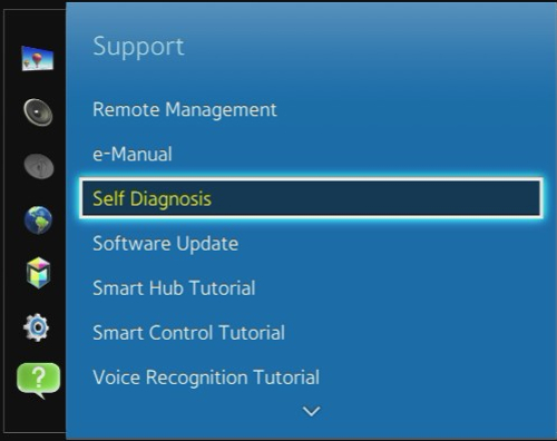 Select Self diagnosis from Support menu
