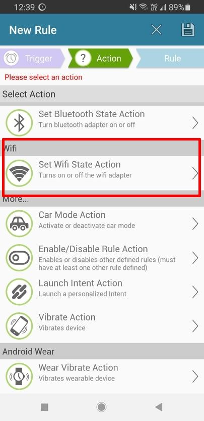 Set WiFi Rule from Action Tab