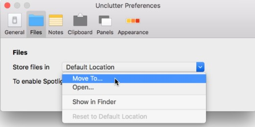 Set your own place on Mac for storing everything from Unclutter Files