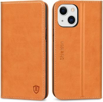 Shieldon Leather Wallet Case for iPhone 13 with RFID Blocking