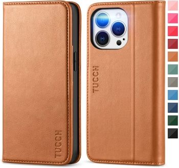 TUCHH Leather Wallet Case with Credit Card Slot for iPhone 13 Pro