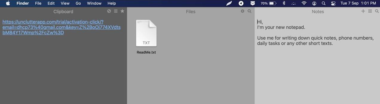UnClutter App screen