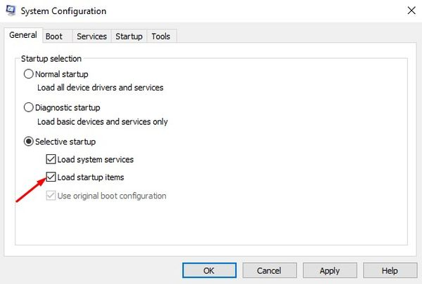 Uncheck Load startup items in System Configuration