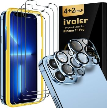 iVoler Screen and Camera Lens Protector for iPhone 13 Pro